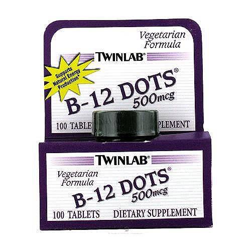 Twinlab B-12 dots 500mg vegetarian formula dietary supplement tablets - 100 ea