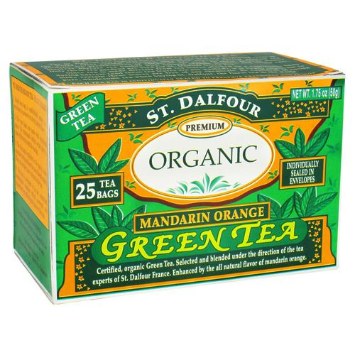 St. Dalfour premium organic green tea, mandarin orange - 25 tea bags