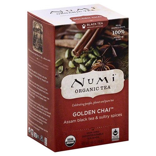 Numi organic black tea medium caffeine, Golden chai - 18 ea, 6 pack
