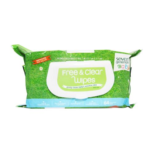 Seventh generation unscented chlorine free baby wipes with aloe vera and vitamin e - 64 ea