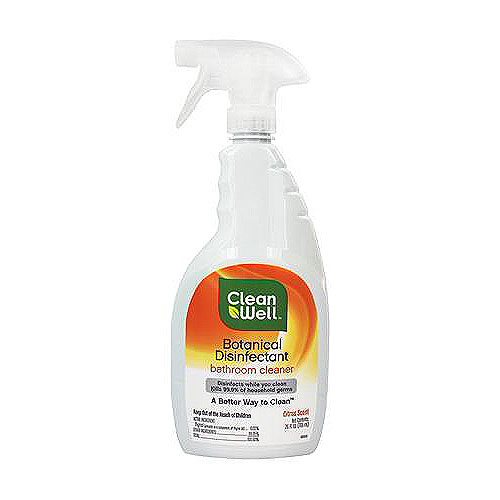 CleanWell Botanical Disinfectant Bathroom Cleaner, Citrus Scent - 26 oz